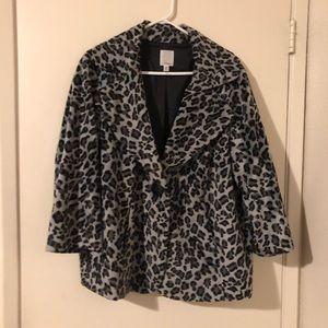 Halogen Faux Fur Grey Leopard Print Jacket